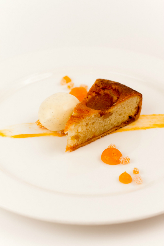 Apricot And Almond Tart, Clotted Cream Ice Cream