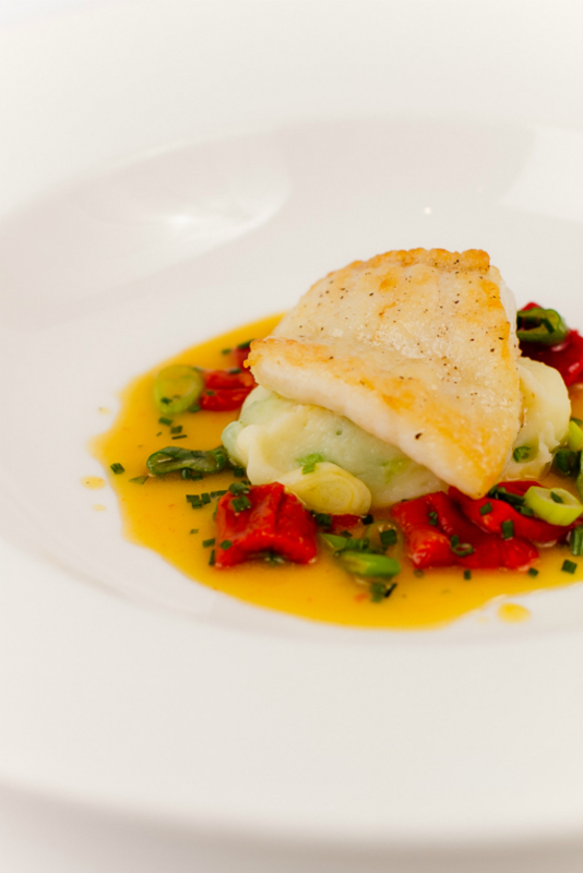 Brill With Spring Onion Mash, Saffron And Red Pepper Sauce