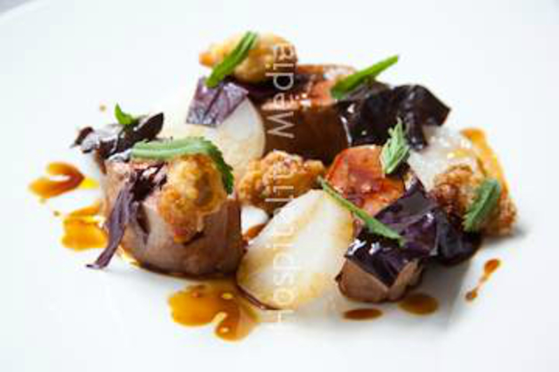REG'S DUCK BREAST WITH SWEETBREADS, SALT BAKED TURNIP, RED ORACH AND ENGLISH MACE