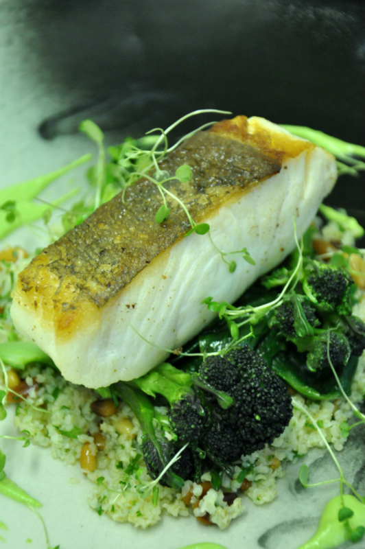 Fillet of Halibut, Pine nut buckwheat, Spinach, Purple Sprouting Broccoli and Watercress Sauce
