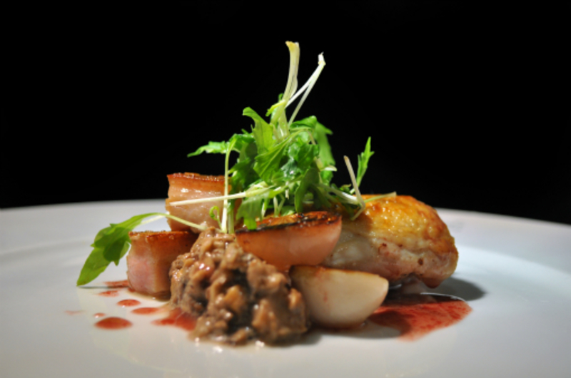 Modernize Coq Au Vin; slow cooked chicken thigh, pancetta, mushroom pate and red wine dressing