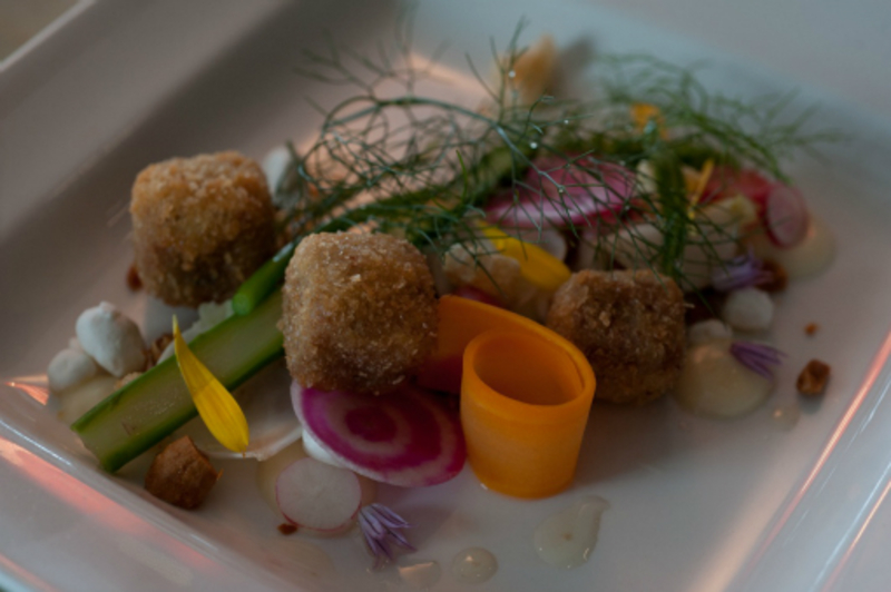 Eric Snaith''s recipe for Dingley Dell Pig''s Head, Almond and Garden Vegetable Salad