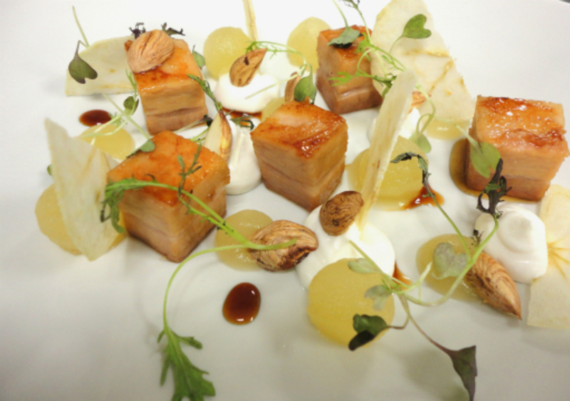 Salad of pork belly, apple preparations,  goat's cheese