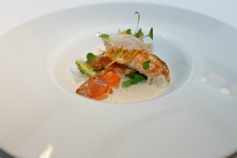 Kilbrannan Langoustines with pea purée and potato crisp