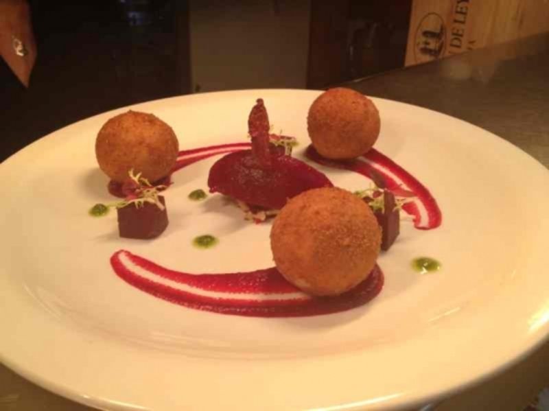 Goats cheese and sundried tomato bon bons, pickled beetroot, sorbet, crisp