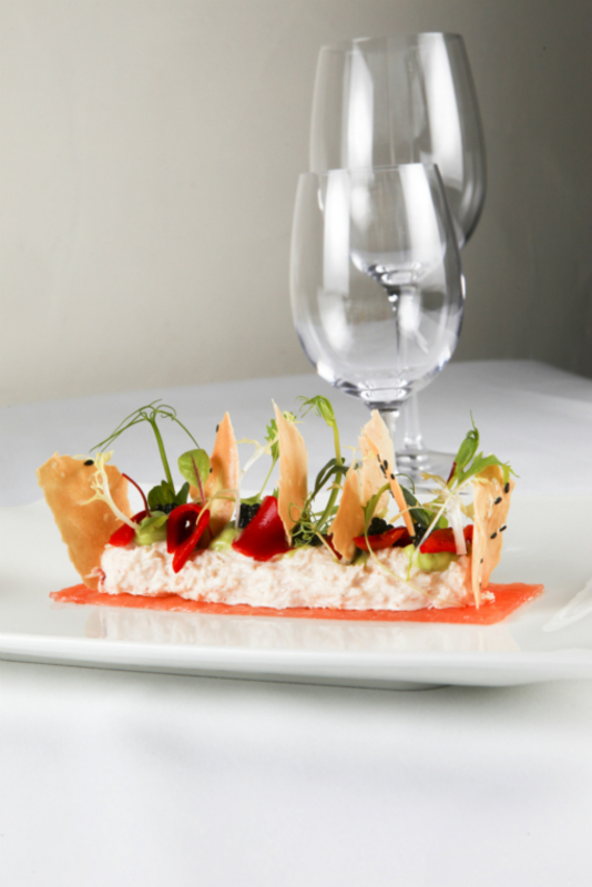Severn & Wye Smoked Salmon, Portland Crab Meat, Avocado Emulsion, Red Pepper and Sesame Taco