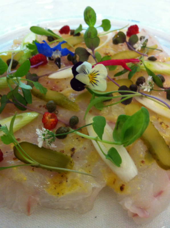 Line Caught Seabass Carpaccio, Baby Gherkins, Capers, Poached Baby Leeks & Mustard Vinaigrette