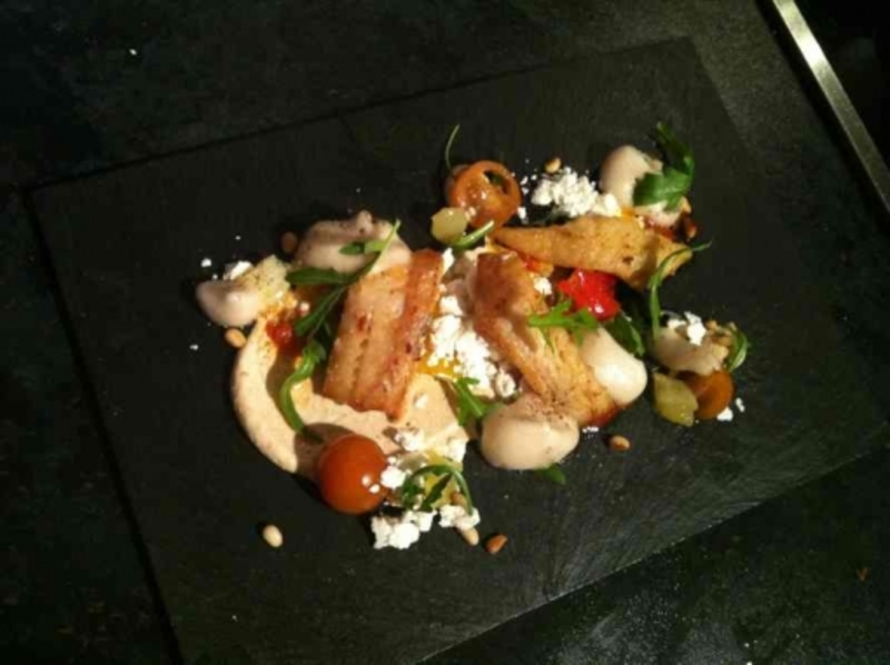Pollack , pine nuts , pickled tomato , olive oil meringue , balsamic air