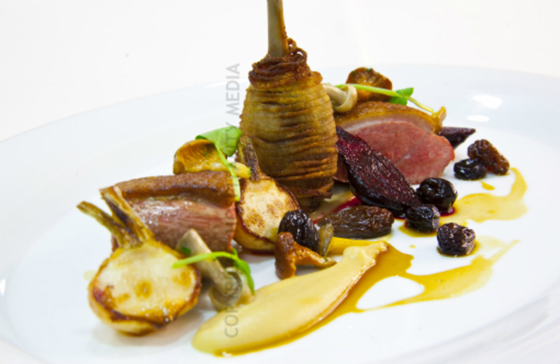 Roasted Loomswood Duck Breast, Parsnip Pruee, Young Root Vegetables, Wild Mushrooms, Rasin Jus