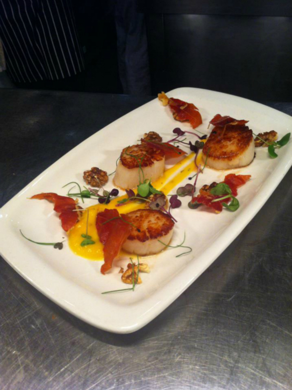 scallops with squash puree,roasted walnuts,parma ham