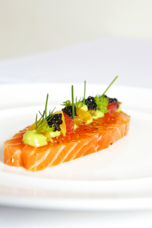 Citrus Cured Organic Salmon with Avocado Purée and Sevruga Caviar