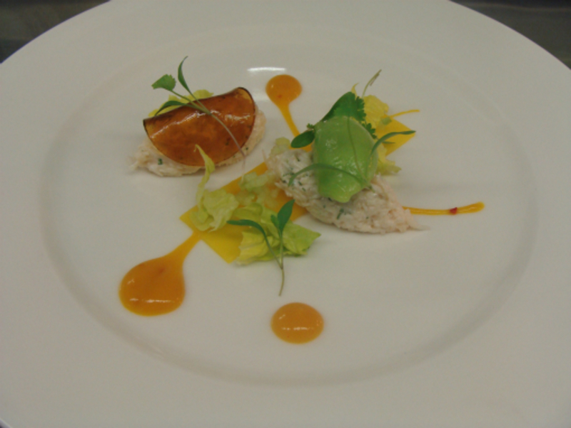 Crab, Mango and cucumber