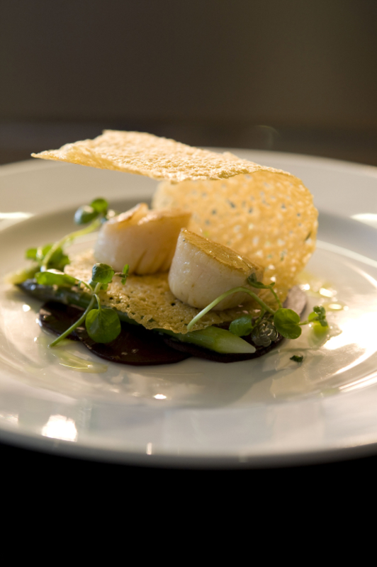 West Coast Scallops with parmesan tuille