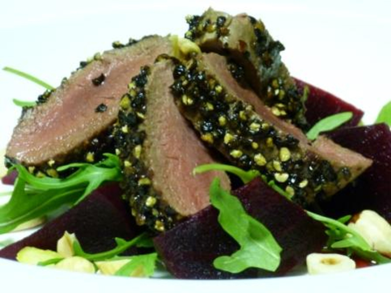 Peppered Saddle of Roe Deer Salad with Beetroot and Hazelnuts