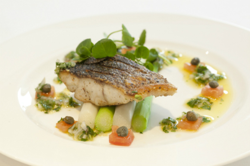 Pan Roast Fillet of Wild Line Caught Liverpool Bay Sea Bass with Green & White Asparagus and Wirral Watercress Vierge