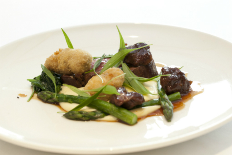 Rump of home reared mutton, cheeks, sweetbreads, Collie Wobbles ale, asparagus, goats curd, cauliflower and ramsons