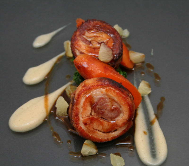 Braised Pork Belly, Apple and Vanilla Puree