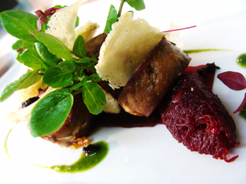 Breast of Lamb with beetroot, anchovies, watercress and olive crunch