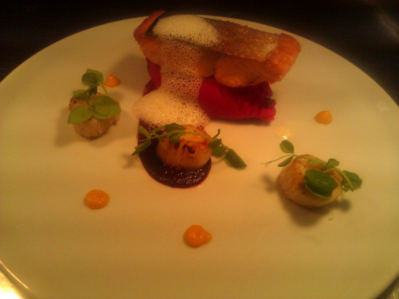 Pan - fried Organic Salmon, Beetroot Mash, Carrot & Ginger, Scallops, Horseradish