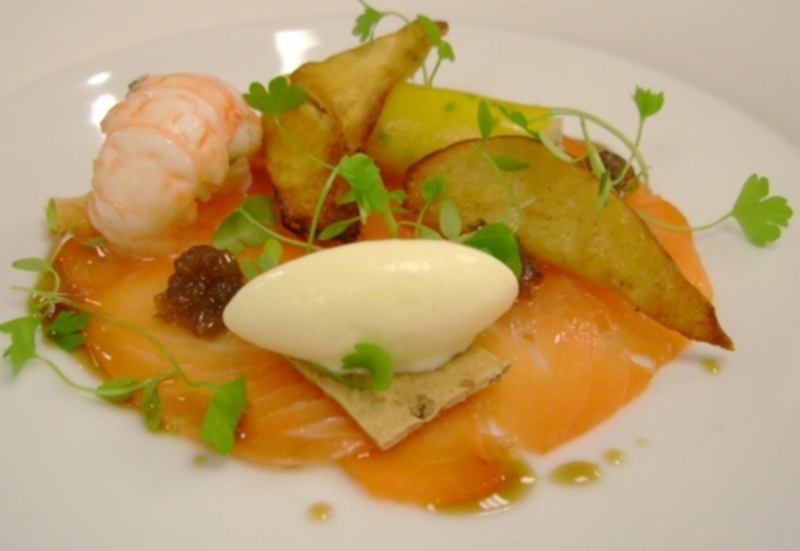 Salmon carpaccio, crab and yellow pepper cannelloni, langoustine and horseradish