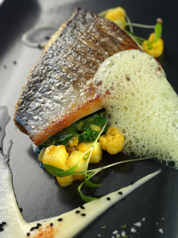Steamed Sea Bream with Sag Aloo and Cauliflower Puree
