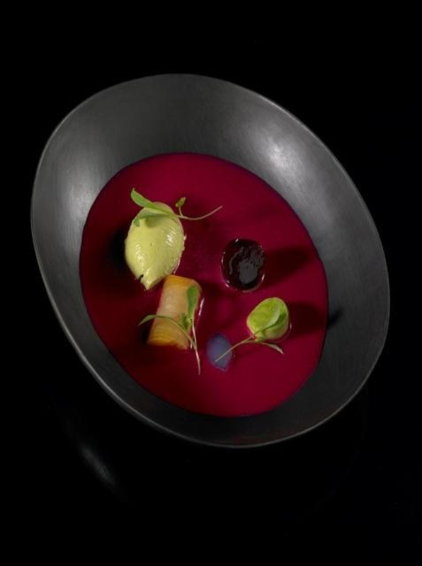 Chilled beetroot gazpacho with vodka jelly and avocado sorbet