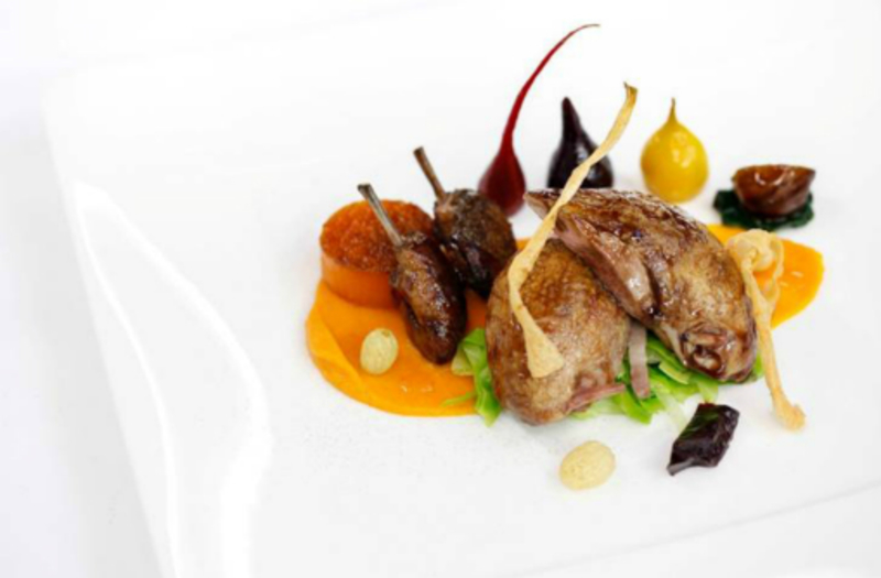 Roasted quail, butternut squash; braised red cabbage and cinnamon by Gary Jones