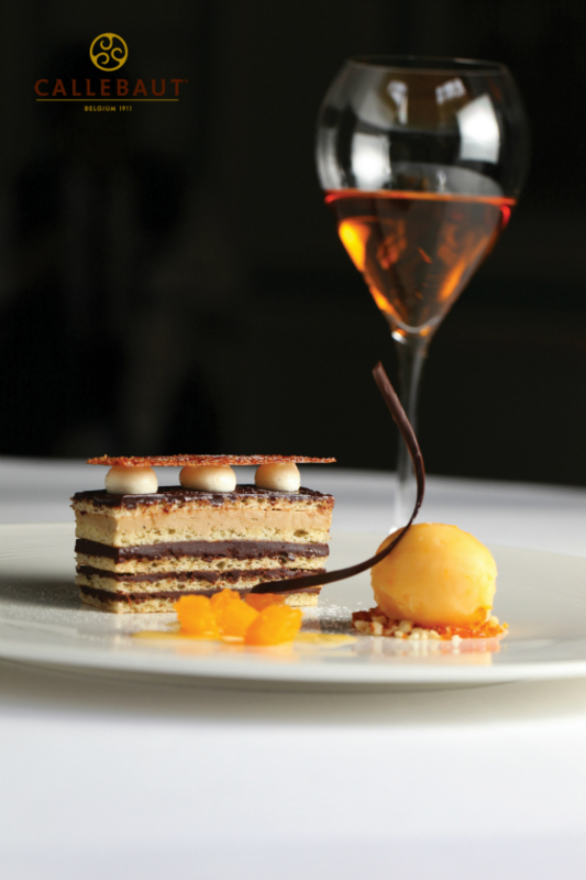 Opera Cake with blood orange sorbet by Gary Hunter