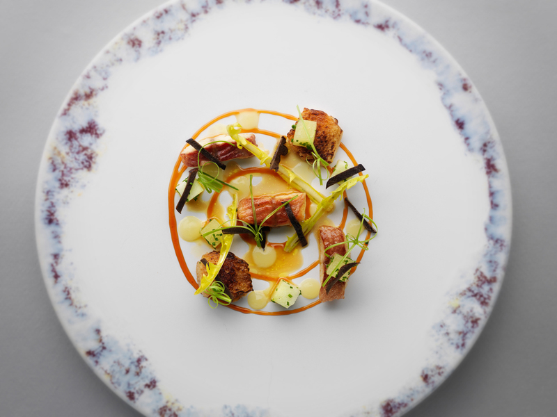 SALAD OF CHICKEN WINGS AND SMOKED EEL by Mark Poynton
