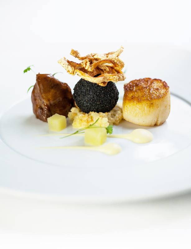 SCALLOPS, PORK CHEEK, BLACK PUDDING, CELERIAC AND APPLE by Steve Groves