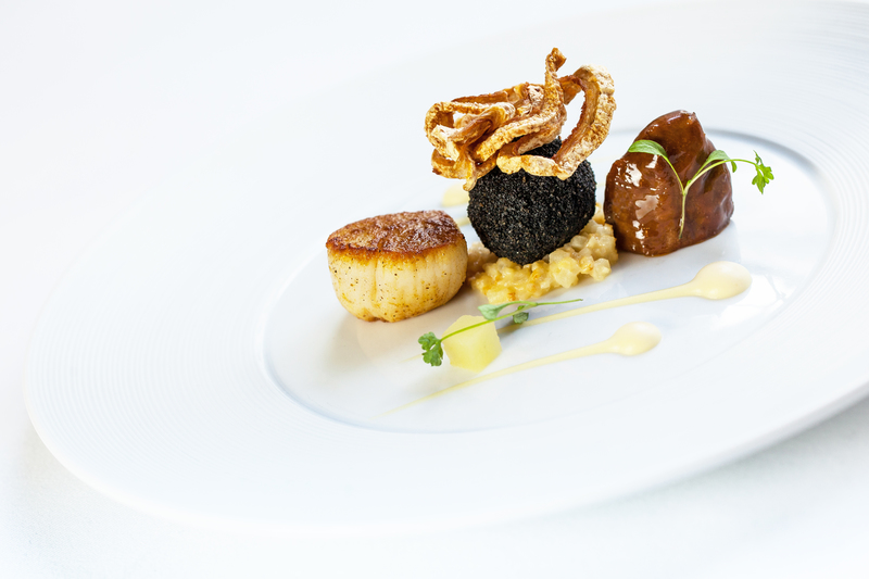 SCALLOPS, PORK CHEEK, BLACK PUDDING, CELERIAC AND APPLE by Steve Groves - 2