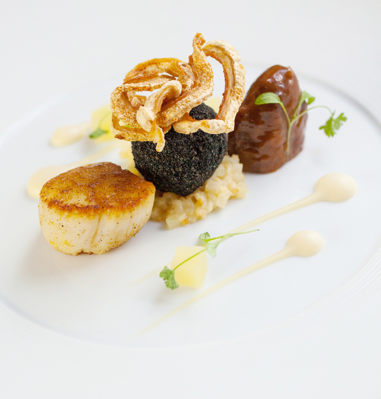 SCALLOPS, PORK CHEEK, BLACK PUDDING, CELERIAC AND APPLE by Steve Groves - 3