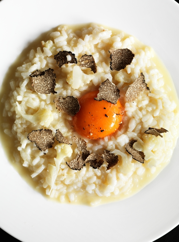 Cauliflower & truffle risotto with egg yolk