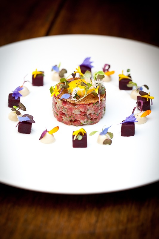 Beef and Rock Oyster Tartare With Kikkoman Soy Mayonnaise and Quail Egg.