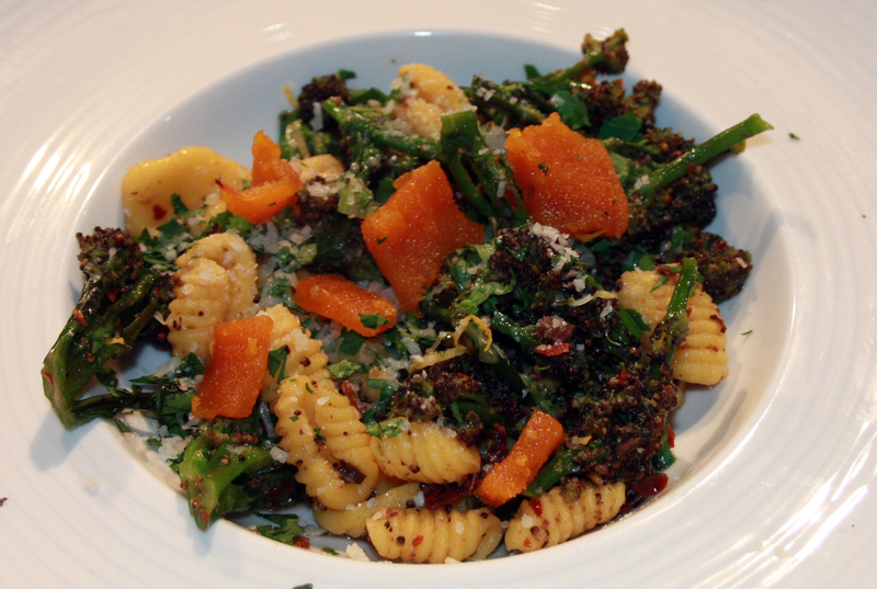 Orecchiette, purple sprouting broccoli and botagra by Luke Holder