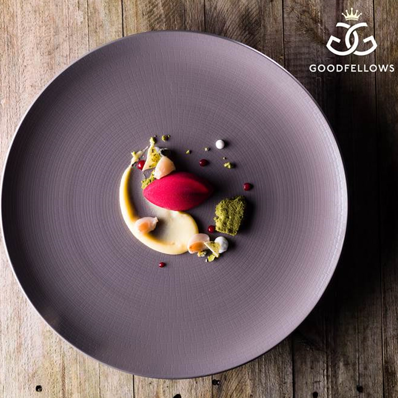Raspberry mascarpone mousse with Lychee, lemon and roasted pistachio by Graham Hornigold