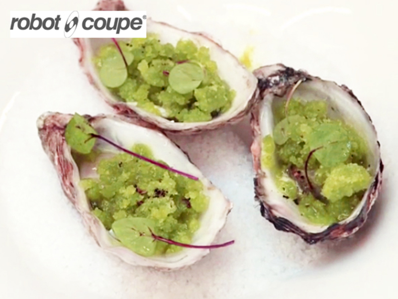 Oysters with apple and sorrel granite & Nepalese pepper by Simon Hulstone