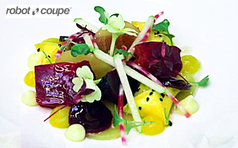 Cooked beets served with Golden beetroot ketchup by Simon Hulstone