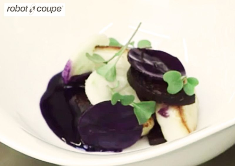 Roasted scallops with Black pudding , red cabbage jus by Simon Hulstone