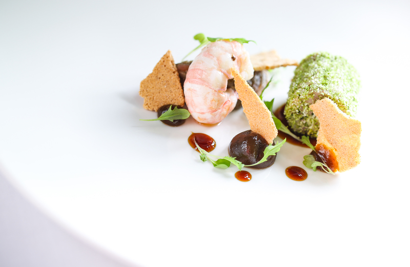 Pigs head, aubergine & langoustine recipe by Matt Gillan