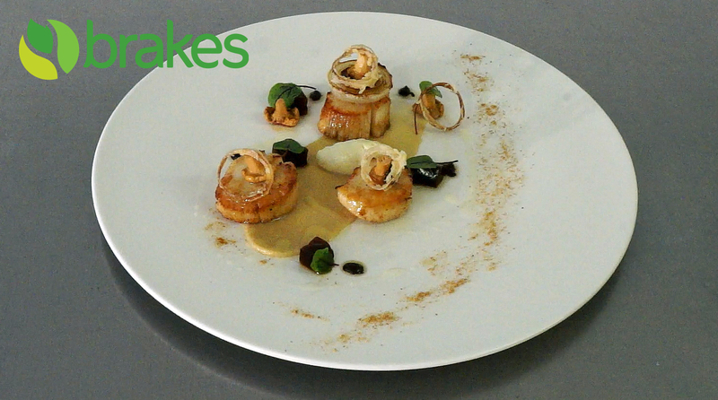 Pan Fried Scallops with Fermented Black Garlic, Shallot Mousse & Lobster Bisque Jelly by Richard Phillips - 1