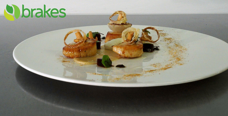 Pan Fried Scallops with Fermented Black Garlic, Shallot Mousse & Lobster Bisque Jelly by Richard Phillips - 2