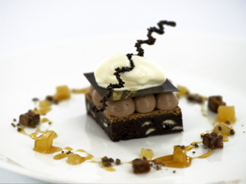 Rich chocolate brownie, with Arriba milk chocolate mousse by Peter Joyner