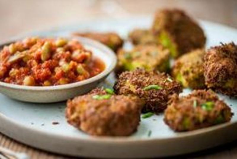 Crab and Chickpea Bhajis with Chakalaka