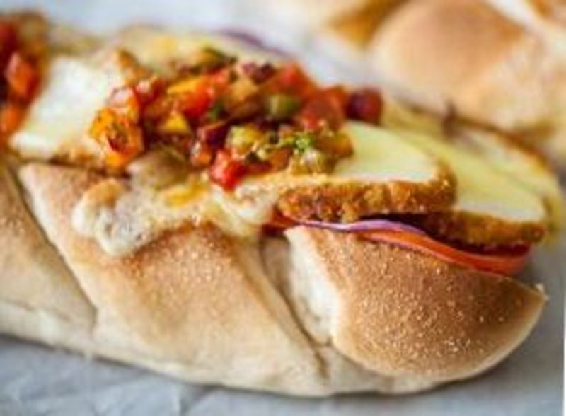 American Chicken Sub served with salsa using MAGGI Southern Fried Crunchy Bake