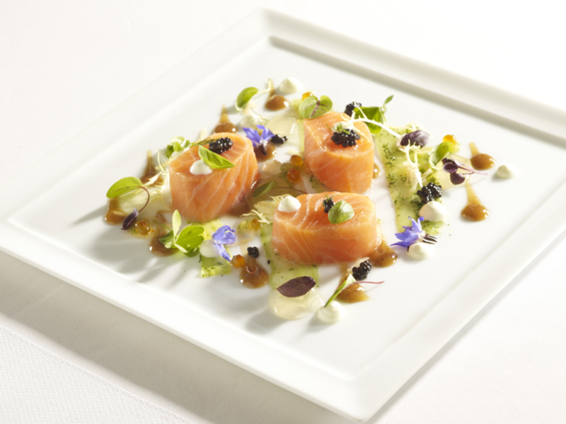 River Dart wild salmon, Oscietra caviar, salmon jelly, cucumber, honey & soy vinaigrette, wasabi & Greek yoghurt vinaigrette