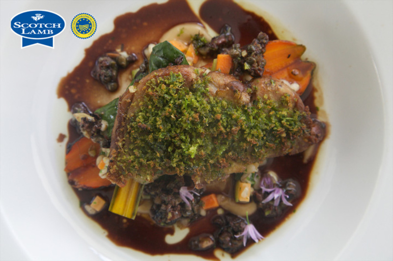 Braised shoulder of Scotch Lamb/mutton, parsley crust, confit carrot, black olive and caper - 4