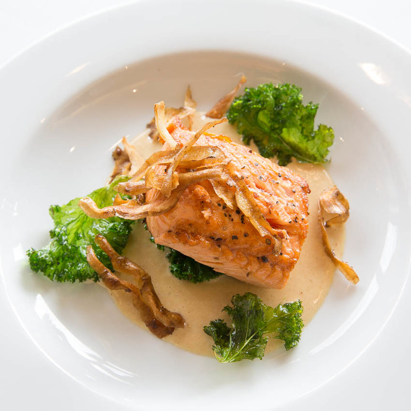 Pan Fried Sea Trout with Jerusalem Artichokes Crisps, Curly Kale, Wild Sorrel and an Artichoke Sauce