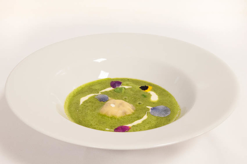 Wirral Watercress soup served with Ravioli