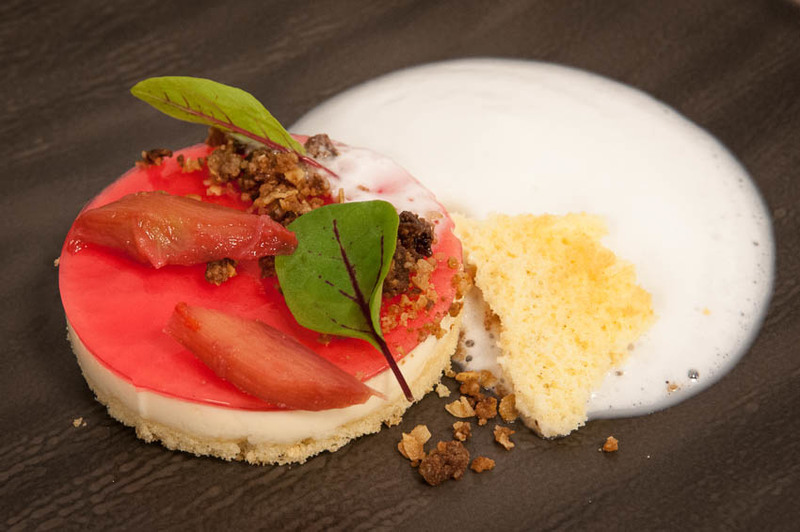 Delamere Goats Yoghurt Mousse, Poached Rhubarb, Cheshire Rapeseed Oil Sponge and Gingerbread Granola